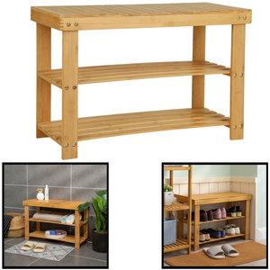 Decopatent Schoenenbank bamboe hout - Voor 6 paar schoenen - 70 cm breed - Rek met 2 etages  - Opbergrek met moderne uitstraling - Ook als schoenenrek / open badkamerrek / organizer voor badkamer - Decopatent®