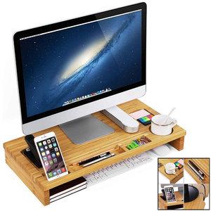 Decopatent Monitorstandaard van bamboe hout - Monitor beeldscherm verhoger en bureau organizer – 2 in 1 - Met vakje voor telefoon en pennenbak - Monitorverhoger van Decopatent®