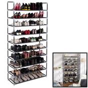Decopatent Schoenenrek XXL voor 50 paar schoenen - 10 etages - Organizer voor schoenen opbergen - Staand opbergrek - Schoenenkast zwart - Opbergsysteem van metaal met kunststof verbindingen - Decopatent®