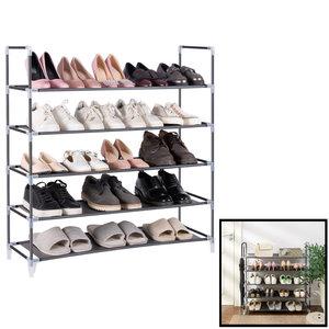 Decopatent Schoenenrek voor 25 paar schoenen - 5 etages - Zwart - Schoenen opbergsysteem voor schoenen opbergen - Staand opbergrek / Schoenenkast - Rek van metaal & kunststof - Decopatent®