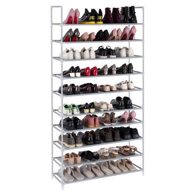 Decopatent Schoenenrek XXL voor 50 paar schoenen - 10 etages - Organizer voor schoenen opbergen - Staand rek / opbergrek - Schoenenkast grijs - Opbergsysteem van metaal met kunststof verbindingen - Decopatent®
