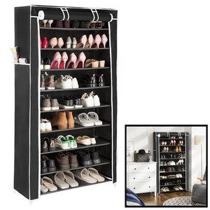 Decopatent Schoenenrek XXL voor 40 paar schoenen – Met hoes in Zwart - Opbergsysteem van metaal met kunststof verbindingen - Organizer voor schoenen opbergen - Staand opbergrek – Schoenenkast - Decopatent®