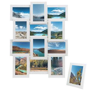 Decopatent Fotolijst collage - 12 foto's van 10 x 15 cm - Collagelijst wit - Hangend - Met 12 fotokaders met glasplaatje – MDF hout - Decopatent®