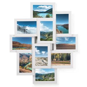 Decopatent Fotolijst collage - 10 foto's van 10 x 15 cm - Collagelijst Wit - Hangend - Met 10 fotokaders met glasplaatjes – MDF hout - Decopatent®