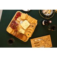 Decopatent Kaasplank Set van Bamboe Hout - Kaasplankje met Lade met 4-delig Kaas Messenset - Serveerplank hout - Kaasplank van natuurlijk Bamboe hout met messen - Serveerplanken voor kaas - Decopatent®