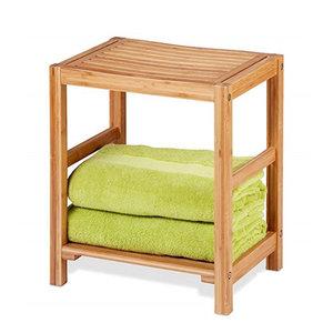 Decopatent Handoekenrek & Badkamer bankje in 1 - Van bamboe hout - Stevige houten Handdoeken rek /bankje voor in badkamer - Handig als badkamerkruk / badkamerstoel / handdoekenrek - Decopatent®