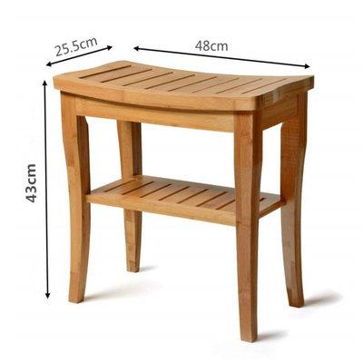 Decopatent Badkamer / Sauna bankje met opbergruimte - Van bamboe hout - Stevige houten bankje voor in badkamer of sauna - Handig als badkamerkruk / badkamerstoel  - Decopatent®