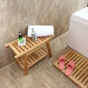 Decopatent Luxe Bamboe badkamer bankje - Bankje met opbergvak - Houten badkamer bank -  Badkamerkruk van Bamboe hout - Decopatent®