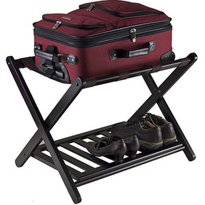 Decopatent Kofferstandaard inklapbaar met extra legplank - Kofferrek van hout - Bagagerek voor koffers voor op reis - Koffer standaard klapbaar - Kleur: Zwart - Decopatent®