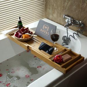 Decopatent Luxe Bamboe Badrekje Uitschuifbaar met Boekenhouder / Tablethouder - Uitschuifbaar badrek van: 75 tot 110 cm - Bamboe Hout - Badplank met Boekenhouder + Plaats voor Kaars en Glas Wijn - Decopatent®