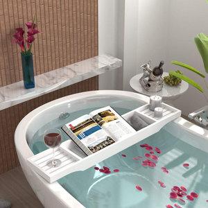 Decopatent Decopatent® Bamboe badrekje voor over bad - 70 Cm lang - Badrek - Badplank - Badbrug - Houten - bad tafeltje - Kleur: Wit
