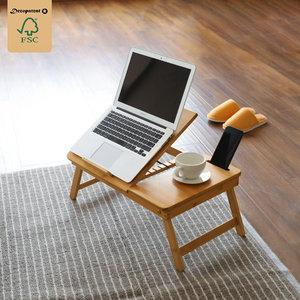 Decopatent Laptoptafel voor op Bank of bed van bamboe hout - Met Telefoon & Tablet houder - Hoogte verstelbaar, kantelbaar & Inklapbaar - Bedtafel / Banktafel voor laptop, boek, tablet - Ontbijt op bed tafel - Decopatent®