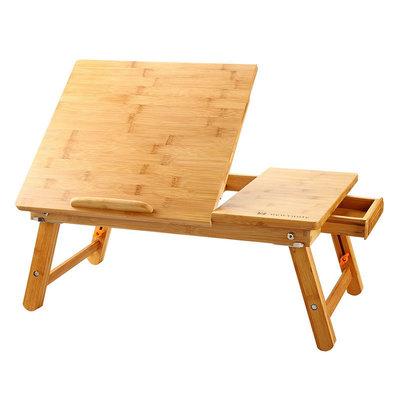 Decopatent Laptoptafel voor op schoot voor bed of op de bank van bamboe hout - Hoogte verstelbaar, kantelbaar & Inklapbaar - Bedtafel voor laptop, boek, tablet - Ontbijt op bed tafel - Decopatent®