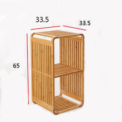Decopatent Bamboe vakken kastje - badkamerkast - vakkenkast - schoenenkast - kubuskast - 2 Kubus Bamboe vakken kastje - badkamerkast - vakkenkast - schoenenkast - kubuskast - 3 Laags - Decopatent®