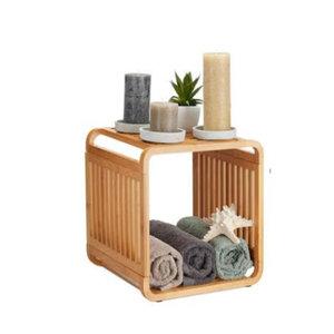 Decopatent Bamboe vakken kastje - badkamerkast - vakkenkast - schoenenkast - kubuskast - 1 Kubus Bamboe vakken kastje - badkamerkast - vakkenkast - schoenenkast - kubuskast - 2 Laags - Decopatent®