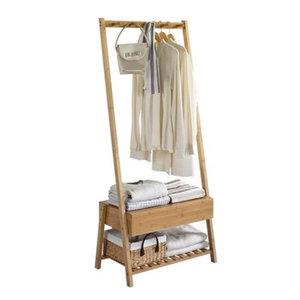 Decopatent Stevig staand bamboe garderoberek - Voorzien van kapstok, lade & legplank voor schoenen - kledingrek - bamboe houten kledingrek - staand garderoberek - kleding rek met schoenenrek - Decopatent®