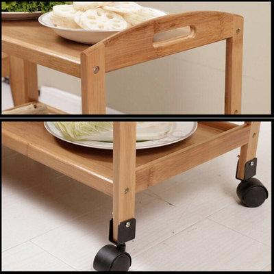 Decopatent Keukentrolley - 3 laags bamboe keukenwagen - serveerwagen trolley voorzien van 4 wielen - keuken trolley - Decopatent®