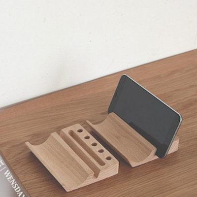 Decopatent Pennenbak / Visitekaarthouder - Tevens geschikt voor Tablet, Telefoon en het opbergen van een bril - bamboe hout pennenbakje / visitekaartjeshouder - bureau organizer - Decopatent®