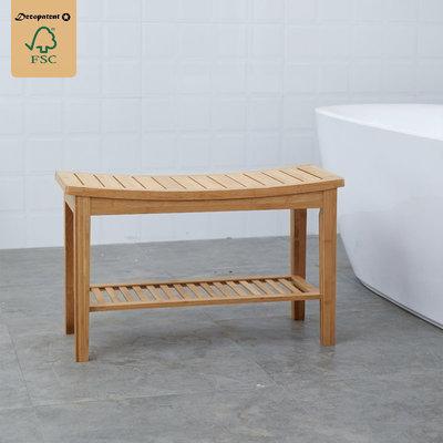 Decopatent Stevig Badkamerbankje van bamboe hout - Stevig houten bankje voor badkamer - Handig als badkamerkruk / badkamerstoel - Decopatent®