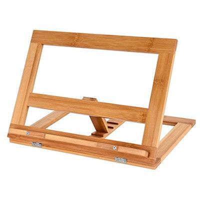 Decopatent Verstelbare boekenstandaard van bamboe hout - Boekenhouder voor o.a. kookboek (als kookboekstandaard in keuken), tablet of boek - Kookboeken standaard - Boekensteun, verstelbaar & inklapbaar - Decopatent®