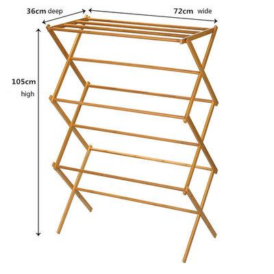 Decopatent Groot opvouwbaar Handdoekenrek - bamboe handdoekenhouder - handdoekrek hout - opklapbaar rek voor handdoeken en kleding - Handdoeken standaard - Decopatent®