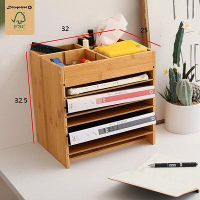 Decopatent Brievenbakje bamboe - brieven organizer - sorteerbak bureau brievenvak - documentenhouder met verstelbare vakken en extra boven vakken voor kantoor benodigdheden  - Decopatent®
