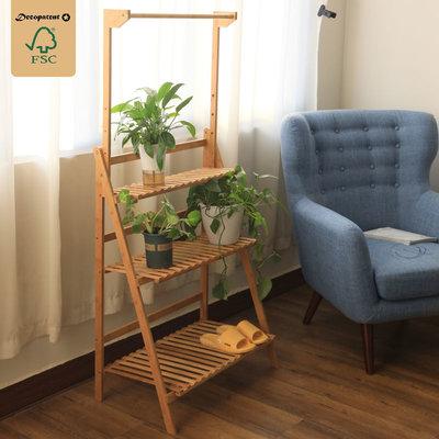 Decopatent Plantenrek van bamboe hout - Plantentrap / bloemenrek voor binnen - Plantenetagere met 3 etages + Stang voor Hangplanten - Staand rek voor planten en bloemen - Decopatent®