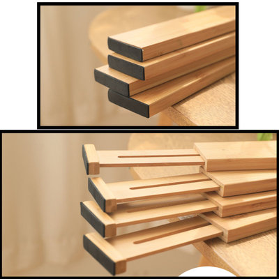 Decopatent Ladeverdelers Uitschuifbaar Bamboe hout - Bamboe Lade Organizer voor Bestek / Keuken / Bureau / Make-Up - Bestekbak - Verstelbare Opbergbak van 45 -> 56.5 Cm.  - Set van 4 Stuks - Decopatent®