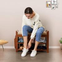 Decopatent Luxe houten Schoenenbank met Zitkussen en Opbergvak voor paraplu's + Opberglade - Voor 6 paar schoenen  - Schoenenrek met 2 legplanken en zitkussen  - Open schoenenrek met veel opberg ruimte - 78,5 cm breed - Decopatent®
