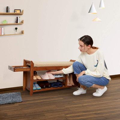 Decopatent Luxe houten Schoenenbank met Zitkussen en Opbergvak voor paraplu's + Opberglade - Voor 8 paar schoenen  - Schoenenrek met 3 legplanken en zitkussen  - Open schoenenrek met veel opberg ruimte - 98,5 cm breed - Decopatent®