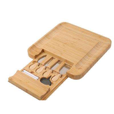 Decopatent Bamboehouten  Kaasplank met 4 Kaasmessen - Kaasplankje met Lade met 4-delig Kaas Messenset - Serveerplank hout - Kaasplank van natuurlijk Bamboe hout met messen - Serveerplanken voor kaas - Decopatent®
