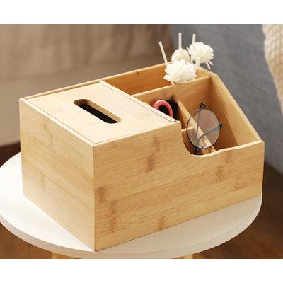 Decopatent Bamboe Tissue box met 4 extra opbergvakken - zakdoekendoos - tissuehouder - tissuedoos - tissue box met vakken - zakdoekjes houder van hout - tissuehouder - Decopatent®