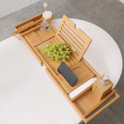 Decopatent Luxe Bamboe Badrekje Uitschuifbaar met Boekenhouder / Tablethouder - Uitschuifbaar badrek van: 75 tot 110 cm - Bamboe Hout - Badplank met Boekenhouder + Plaats voor Kaars en Glas Wijn - Bamboe kleur - Decopatent®