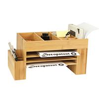 Decopatent Bamboe bureau organizer met pennenbakje en brievenbakje – Bamboe hout, groot formaat - Decopatent