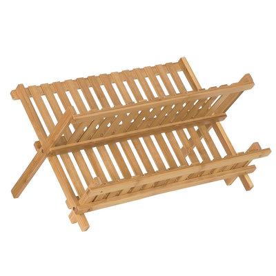Decopatent Afdruiprek van bamboe hout - Inklapbaar / opvouwbaar - Afwasrekje voor 14 borden, glazen, bestek etc. - Druiprek met 2 etages / afwas rek voor in keuken - Decopatent®