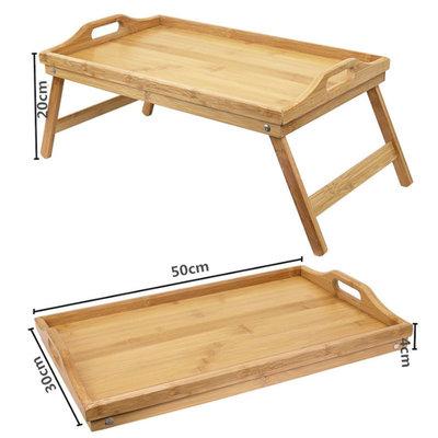 Decopatent Elegante Bamboe inklapbare bedtafel met dienblad - Ook ideal voor oudere mensen - Houten Bed tafel - beddienblad - Ontbijt dienblad - Ontbijt op Bed of Bank - Afm. 50 x 30 x 20 Cm. - Kleur: BAMBOE