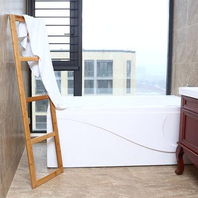 Decopatent Staande Bamboe handdoeken Ladder Rek -  badkamer handdoekhouder voor tegen de muur - handdoekladder - handdoekenrek hout - handdoekrek - Decopatent®