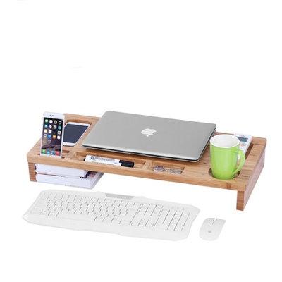 Decopatent Monitor / Laptop beeldscherm verhoger en bureau organizer - Monitorstandaard van bamboe hout - Monitorstandaarden 2 in 1 - Met vakje voor telefoon, beker en pennenbak - Monitorverhoger bureau standaard van Decopatent®