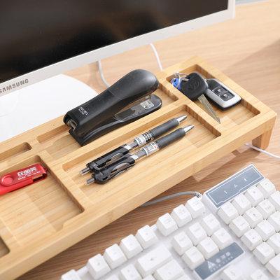 Decopatent Monitorstandaard - Monitor / Laptop beeldscherm verhoger en bureau organizer - bamboe hout - Monitorstandaarden 2 in 1 - Met vakje voor telefoon, beker en pennenbak - Monitorverhoger bureau standaard van Decopatent®