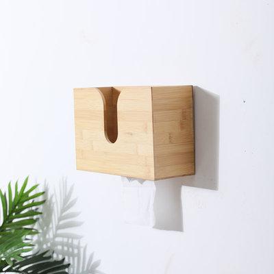 Decopatent Bamboe Tissue box voor aan de wand - Tissuehouder voor wandmontage - tissuedoos - tissuebox voor in Wc, badkamer of Keuken- muur zakdoekendoos - zakdoekjes houder van hout - Decopatent®