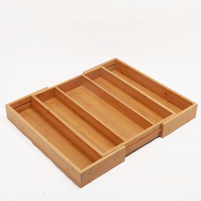Decopatent Uitschuifbare bestekbak voor keukenla – 3 Vaks -> Uitschuifbaar naar 5 Vaks - Bestek organizer van hoogwaardig bamboe hout – Bestekcassette uitschuifbaar - 34-49 x 44 x 6 Cm. - Decopatent®