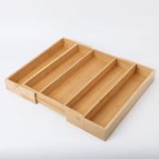 Decopatent Uitschuifbare bestekbak voor keukenla – 3 Vaks -> Uitschuifbaar naar 5 Vaks - Bestek organizer van hoogwaardig bamboe hout – Bestekcassette uitschuifbaar - 55 x 46 x 6.5 Cm. - Decopatent®