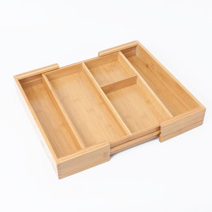 Decopatent Uitschuifbare bestekbak voor keukenla – 3 Vaks -> Uitschuifbaar naar 5 Vaks - Bestek organizer van hoogwaardig bamboe hout – Bestekcassette uitschuifbaar - 43.5 x 36 x 6 Cm. - Decopatent®