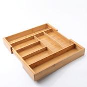 Decopatent Uitschuifbare bestekbak voor keukenla – 5 Vaks -> Uitschuifbaar naar 7 Vaks - Bestek organizer van hoogwaardig bamboe hout – Bestekcassette uitschuifbaar - 33-55 x 45.5 x 6.5 Cm. - Decopatent®
