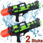 Decopatent 2 STUKS   XL Waterpistolen - Super soaker waterpistool voor 2 jongens - Jumbo waterkanon - Dubbel Shots supersoaker water pistool voor kinderen - Waterspeelgoed Watergeweer - Water gun met groot water reservoir - Decopatent®