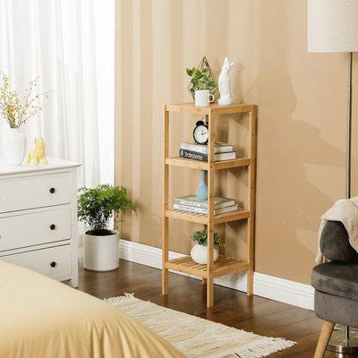Decopatent Opbergrek van bamboe hout - Als open badkamerrek, schoenenrek of keukenrek - Opbergkast met 4 verstelbare etages / planken - Rek voor badkamer, keuken en hal - 33 cm breed - Decopatent®