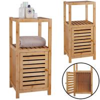 Decopatent Badkamerrek van bamboe hout - Badkamerkast met 1 kast deur en 2 etages voor in de badkamer - Opbergrek - Staand Rek - Open kastje als badkamerkast - Decopatent®
