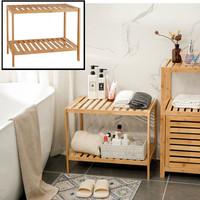 Decopatent Houten bankje van bamboe hout - Badkamer opbergrek - Badkamerkast Rek - Open badkamerbankje voor opbergen van handdoeken, slippers - Decopatent®