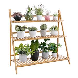 Decopatent Plantentrap van bamboe hout - Plantenrek voor binnen - Plantenstandaard voor planten, bloemen - Ook als bloemenrek / plantenetagère - Decopatent®