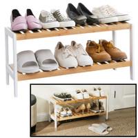 Decopatent Schoenenrek bamboe hout - Voor 6 paar schoenen - 70 cm breed - Schoenen Rek met 2 etages - Opbergrek met moderne uitstraling - Ook als open badkamerrek / organizer voor badkamer - Decopatent®